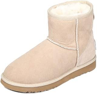 AUSLAND Women's Classic Short Cowhide Leather Snow Boot