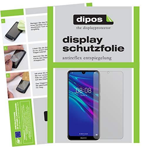 dipos I 2X Schutzfolie matt kompatibel mit Huawei Y6 (2019) Folie Bildschirmschutzfolie (bewusst Kleiner als das Glas, da Dieses gewölbt ist)