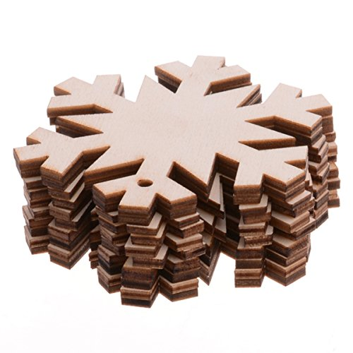 Pack Of 10 Wooden Snowflake Cutouts