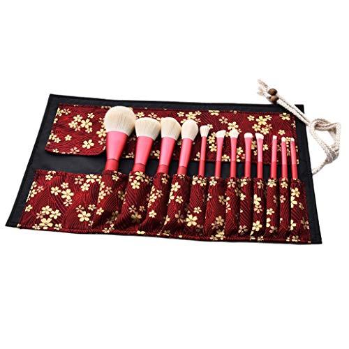freneci 12 Paquets de Poudre Douce de Fard à Paupières En Poudre pour Le Visage En Poudre Kabuki Brush avec Sac de Rangement Rouge