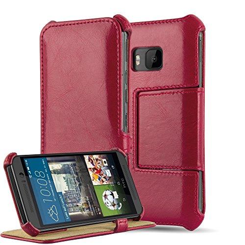 Cadorabo Hülle für HTC ONE M9 - Hülle in Passion ROT – Handyhülle OHNE Magnetverschluss mit Standfunktion & Eckhalterung - Hard Hülle Book Etui Schutzhülle Tasche Cover