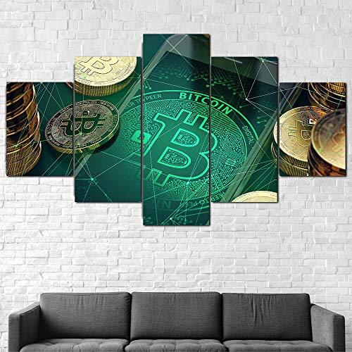 Cuadro En Lienzo 200X100Cm Bitcoin Criptomoneda Dinero Impresión De 5 Piezas Material Tejido No Tejido Impresión Artística Imagen Gráfica Decor Pared