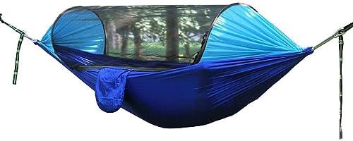 CHDIAO Voyage Camping Light Hamac avec Moustiquaire Portable Parachute Swing pour Cour Extérieure Jardin Camping Plage (Couleur   Bleu, Taille   250  120cm)