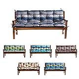 Bankauflage Für Hollywoodschaukel Bankkissen Set Sitzkissen Rückenlehne L (120x60x50, Blau-Grau)