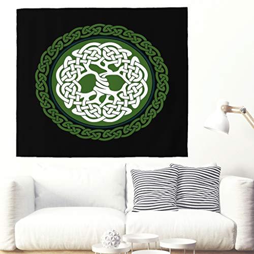 Tapiz étnico celta, árbol de la vida, tapiz de pared, Yggdrasil, gran tapiz de madera de fresno, mural nórdico, diseño de árbol de la vida 230x150cm blanco