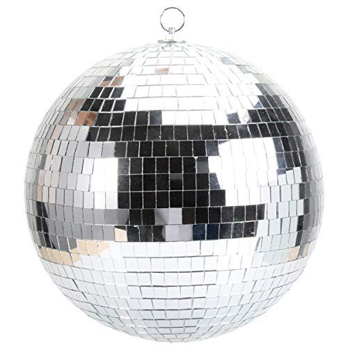 Amosfun - Bola de espejo con anillo colgante de cristal, bola de discoteca, efecto de luz DJ, accesorios de juego para festivales de baile, 30 cm, color plateado