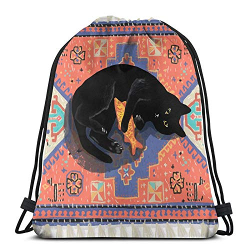 QUEMIN Drawstring Gift Bags,for Kids Boys,Backpack School Bag,for Entertainment/Work/Sport/School Cute Funny Black Cat