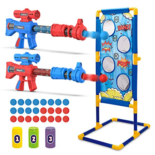 Funyole Shooting Game Toy for Kids, 2 Foam Ball Popper Air Guns & 3 Shooting Target Cans & 1 Shooting Target & 24 Foam Balls, Compatible with Nerf Toy Guns, for Family or Outdoor Children's Games