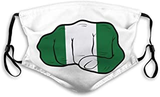 Mouth Cover Face Scraf Nigeria Flag On Clenched Fist Strength Power Protest Concept