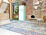Rozenkelim Vintage Alfombra Shabby Chic Look Alfombra de pasillo para salón, dormitorio y pasillo, 70% polipropileno, 30% algodón (8 mm de alto), 290cm x 200cm