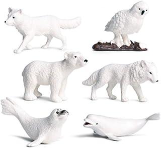 TOYANDONA 6Pcs Arctic Circle Ocean Sea Animal Figurines Set Plastic Wild Animal Learning Models Includes Polar Bear, Belug...
