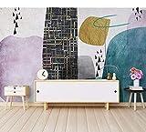 Wandbilder Abstrakte Tapeten-Wandbilder Des Geometrie-Gitters 3D Für Baby-Kind-Kinderzimmer-Hintergrund-3D Foto-Wandgemälde 3D Wandgemälde-Wandpapier-280X200Cm,Wandbild