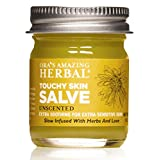Touchy Skin Salve, more than a calendula cream, is a natural healing ointment and intensive moisturizer made with our Base Oil, of organic calendula, licorice, burdock. comfrey, plantain, St. Johns wort, and thyme. This intense infusion makes it an e...
