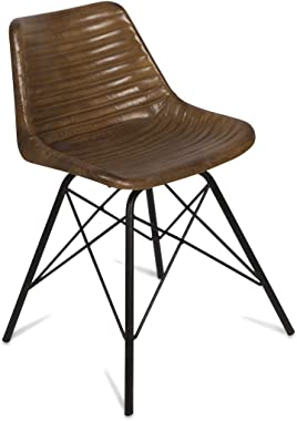 Boho Traders Capri Leather Dining Chair with Iron Legs, Tan
