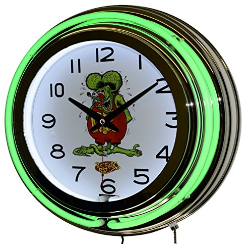 Rat Fink Nostalgic Green Double Neon Lighted Wall Clock Chrome