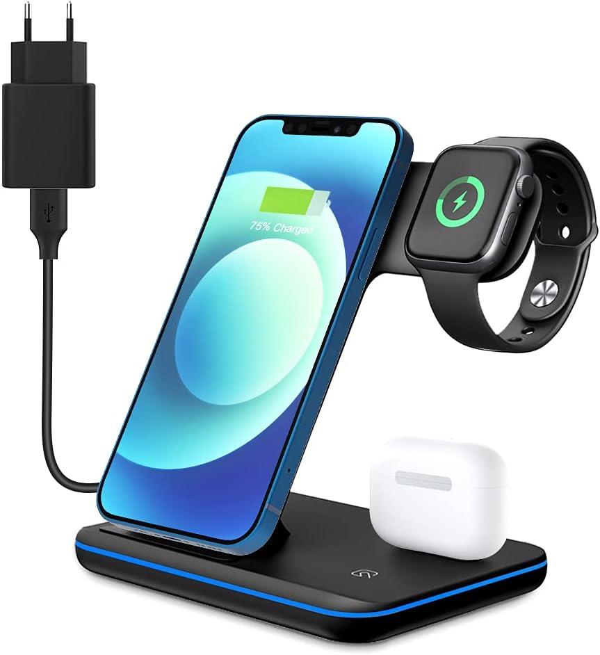 Cargador inalámbrico 3 en 1 de 15 W Qi inalámbrico, Base de Carga inductiva Compatible con iPhone 12/11/XS MAX/XR/XS/X/8/8 Plus, Apple iWatch 5/4/3/2/1, AirPods, Samsung S10 S9 S8 Huawei