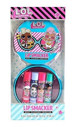 Lip Smacker - L.O.L Surprise 4 Flavoured Lip Balm Tin - Set de Bálsamos Labiales de Sabores para Niñas - Lata con 4 Sabores
