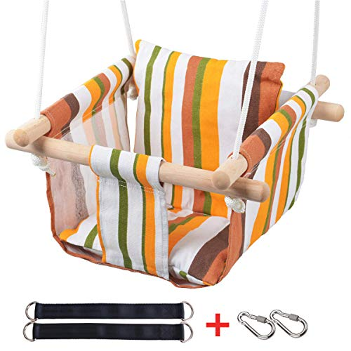 Best Price Toddler Baby Hanging Swing Seat Secure Canvas Hammock Chair with Soft Backrest Cushion - ...