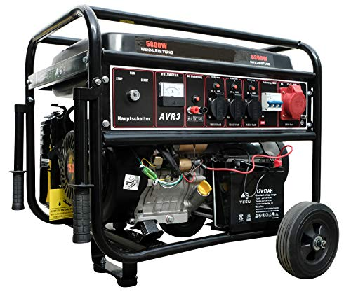 DeTec. Benzin Stromerzeuger 13PS Notstrom Aggregat 230V + 400V + 12V Stromgenerator 6,3 KW mit E-Start