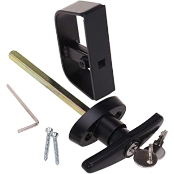 "StartFine T-Handle Lock kit Shed Door Lock with 2 Keys and 2 Screws, 4-1/2"" Stem Barn Playhouse & Chicken Coop Door Lock"