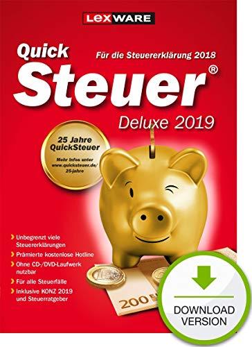Lexware QuickSteuer Deluxe 2019 Download für das Steuerjahr 2018|Einfache und schnelle Steuer-Software für die private und gewerbliche Steuererklärung