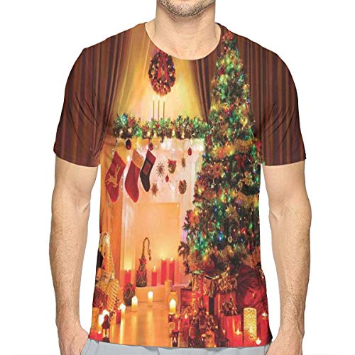 3D Printed T Shirts,New Year In The House with Various Objects In Peaceful Place Photography Print,Mens Casual Short Sleeve Fashion Summer T-Shirt,Size:XXL