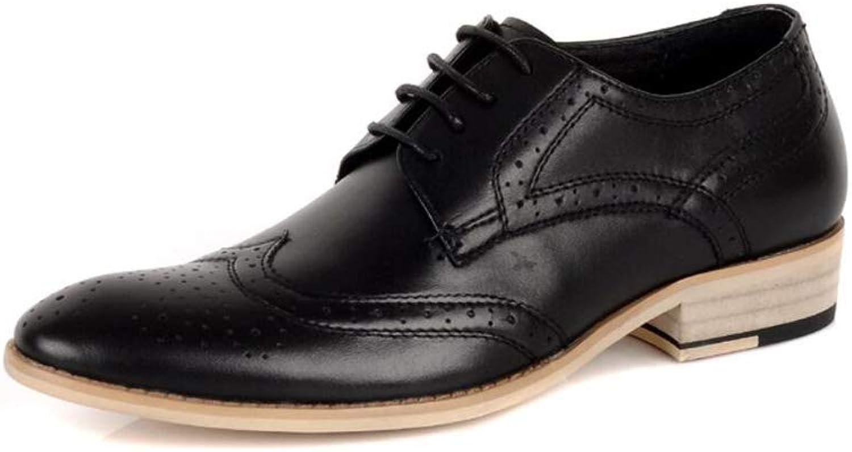 MKJYDM Pointed Scalp shoes Men New Men's British Casual shoes Trend Hair Stylist Men's shoes Wear Men's Leather shoes (color   Black, Size   38 EU)