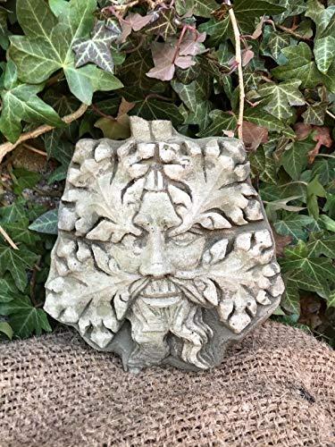 Hex Greenman Plaque | Reconstituted Stone Concrete Statue Sign Garden Ornament