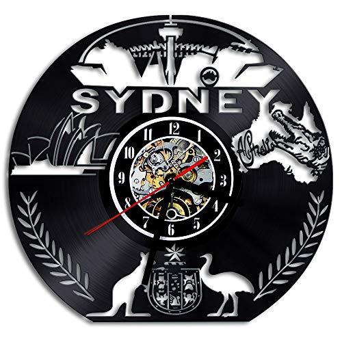 Australische Uhr Sydney Vinyl Wanduhr Sydney Skyline Kunst Uhr LED Beleuchtung Uhr Reisegeschenk