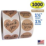 """1000 Pack, Heart Love Shape Kraft Paper Thank You Adhesive Label, Complete Bundle, 1.5"""" Heart..."""