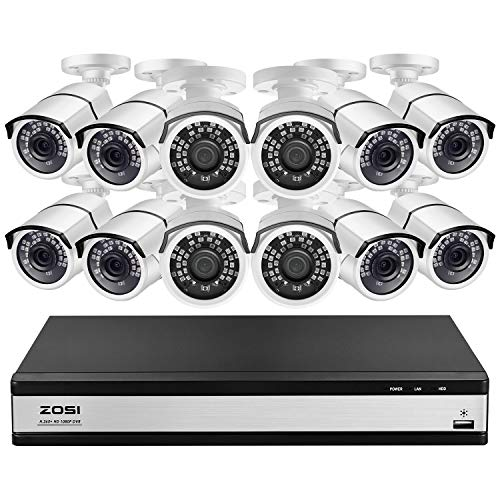 ZOSI H.265+ 1080p 16 Channel Home Security Camera System,16 Channel DVR Recorder and 12 x 1080p CCTV Bullet Camera Outdoor Indoor with 120ft Night Vision and 105°Wide Angle (No Hard Drive Included)