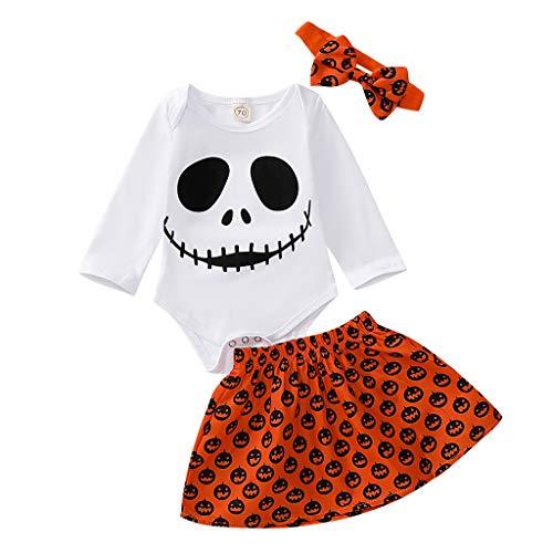 Disfraz de Halloween para bebés niñas Calabaza Body Tops y Falda y Diadema Calavera Ropa Conjuntos...