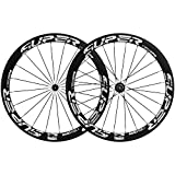 700c wheelset carbon - Superteam 50mm Clincher Wheelset 700c 23mm Width Cycling Racing Road Carbon Wheel Decal (White Decal)