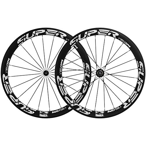 Superteam 50mm Clincher Wheelset 700c 23mm Width Cycling Racing Road Carbon Wheel Decal (White Decal)