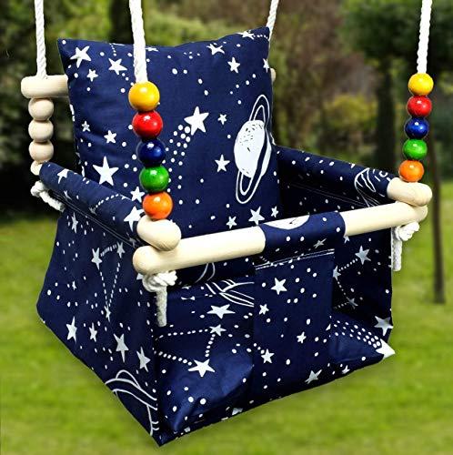BlueKitty Schaukel für Kinder; Babyschaukel; Kinderschaukel mit Kissen; Schaukel für Haus und Garten; Babyschaukel, Stoffschaukel, Kleinkindschaukel, Innenschaukel, Verandaschaukel, Holzschaukel