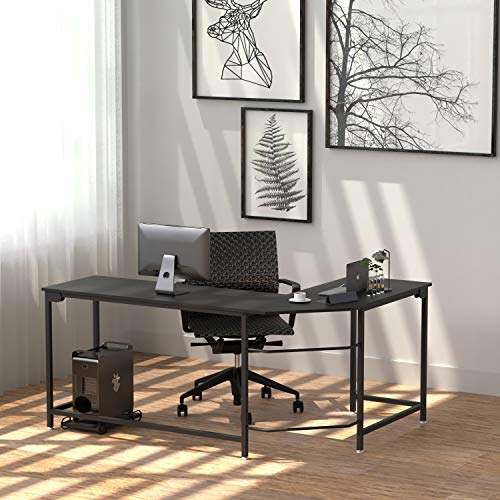 Corner Desk Office Desk Reversible L-Shaped Work Desk with Shelves Round Corner Computer Desk for Home Office Study (Black Mountain Pattern)