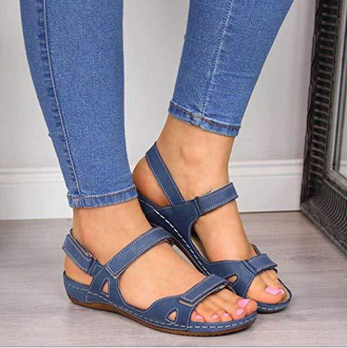 Sandalias Planas Verano Zapatos para Mujer De Dedo Sandalias Talla Grande Casuales De Playa Chanclas,Blue-37