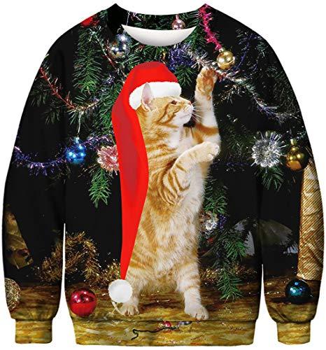 FLYCHEN Sudadera de Navidad Mujer Sin Capucha Impreso Funny 3D Christmas Colorido Divertido Sudaderas Cuello Redondo Azar Ugly Gato de pie - L