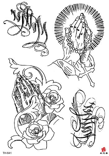 Prayer Hand Big 8.25' tempoary Tattoo Fake Jewelry Tattoos