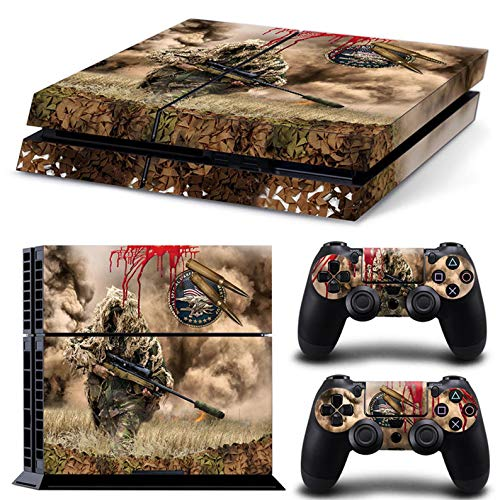 PS4 Skin for Console and Controllers by ZOOMHITSKINS, Same Decal Quality for Cars, War Marine Soldier Sniper Camouflage Submachine Battle, High Quality, Durable, Bubble-free, Goo-free, Made in USA