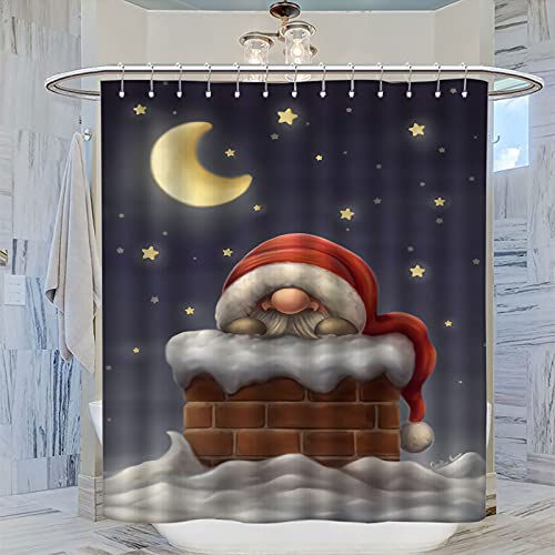 Waterproof Shower Curtains Merry Christmas Santa in The Chimney Cute for Girl Bathroom Decor 72x72 Inch