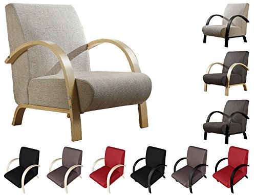 iFlair Sillón de Design con Estructura de Madera y almohadón en poliéster Lavable – Carga máxima 120KG (Color Beige/castaño) (Beige)
