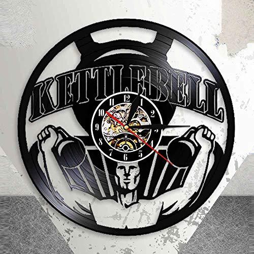 BFMBCHDJ Kettlebell Übung Vinyl Record Nightlight Clock Gym Gewichtheben Laser Cut Wanduhr Bodybuilding Workout Lampe Keine LED 12 Zoll