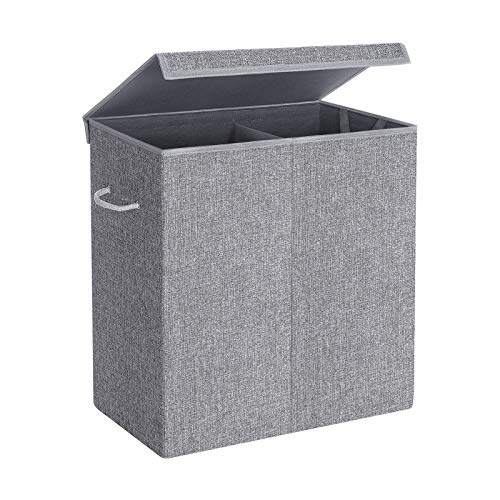 SONGMICS Wäschekorb 142 L, Wäschesammler aus Leinenimitat, Wäschesortierer, Wäschetruhe mit getrennten Fächern, magnetischem Deckel und Griffen, faltbar, Wäschesack herausnehmbar, grau LCB02G