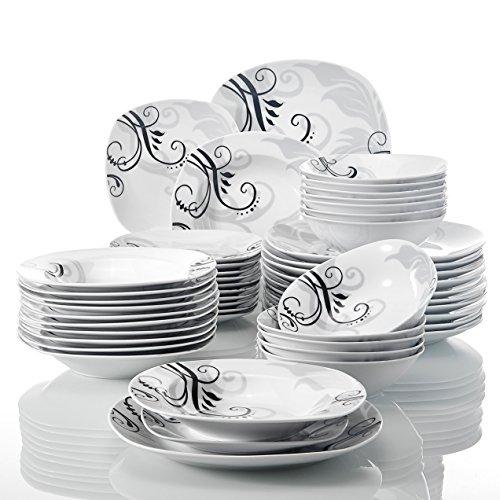 VEWEET Zoey 48pcs Service de Table Pocelaine 12pcs Assiettes Plates 24,6cm, Assiette Creuse 21,5cm, Assiette à Dessert 19cm, Bols à Céréales 17cm Vaisselles pour 12 Personnes Fleuri