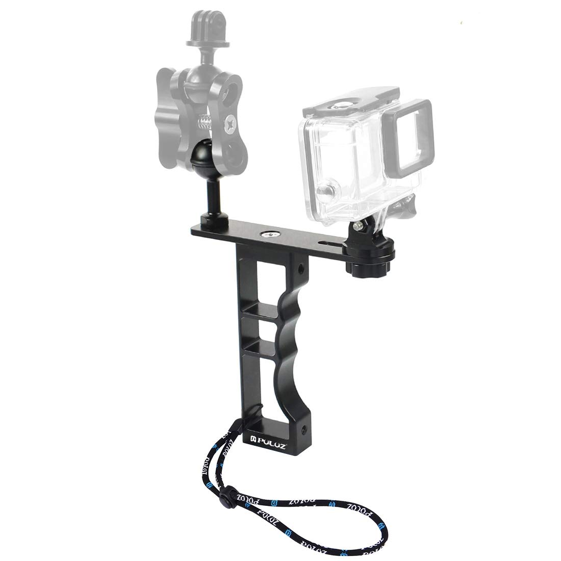 //3//2 //1 GoPro New Hero //HERO7 //6//5 //5 Session //4 Session //4//3 Xiaoyi and Other Action Cameras Durable Dual Handheld Diving Light Arm CNC Aluminum Mount with Lanyard for DJI New Action