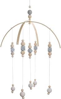 Cozyhoma - Móvil musical para cuna de bebé, cuentas de madera, campanillas de viento, giratorio, plástico, A5, 32 x 52 cm