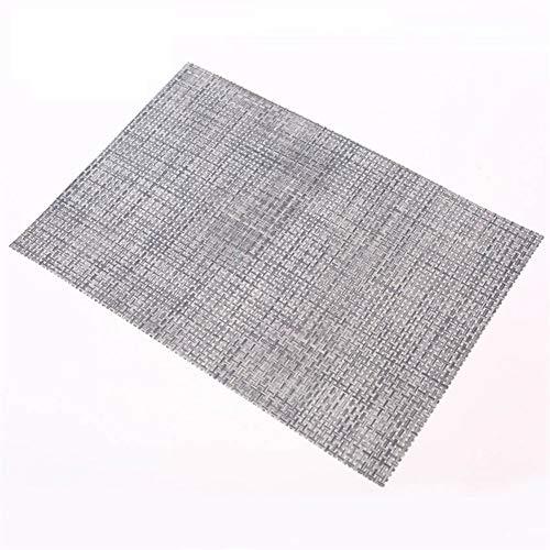 LZFLZ 4 STÜCKE 40x30 cm Tischsets PVC Esstisch Matte Disc Schüssel Pads Untersetzer wasserdichte Tischdecke Pad rutschfeste Pad (Color : Grey, Size : 40x30cm)