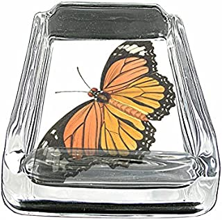 Perfection In Style Glass Square Ashtray Vintage Butterfly Design 005