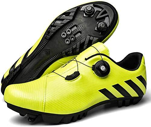 KUXUAN Zapatillas de Ciclismo MTB para Hombre,Zapatos de Bicicleta de Montaña con Candados,Calzado Deportivo de Invierno para Hombres y Mujeres,Green-EU39